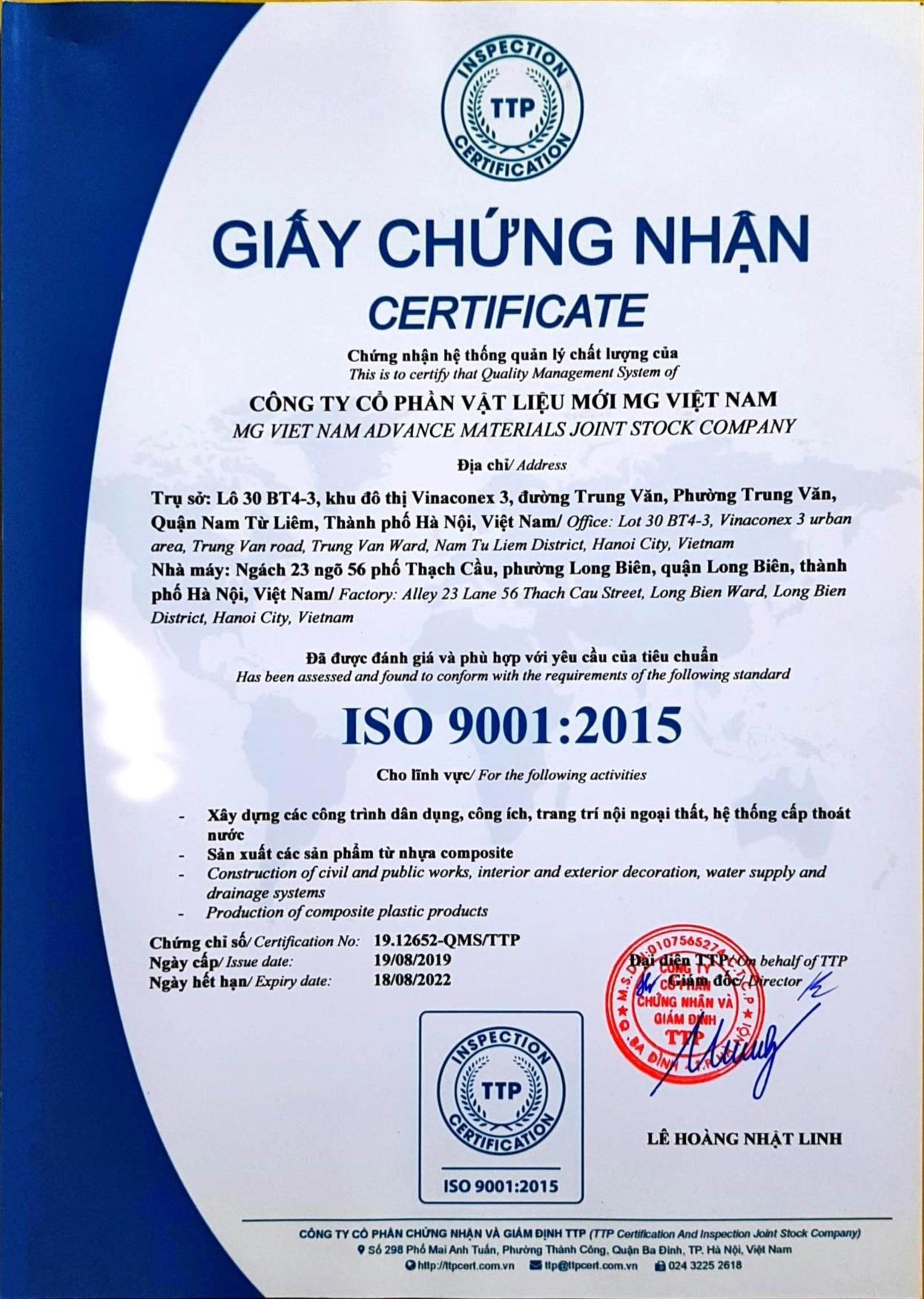 Chứng nhận ISO 9001- 2015